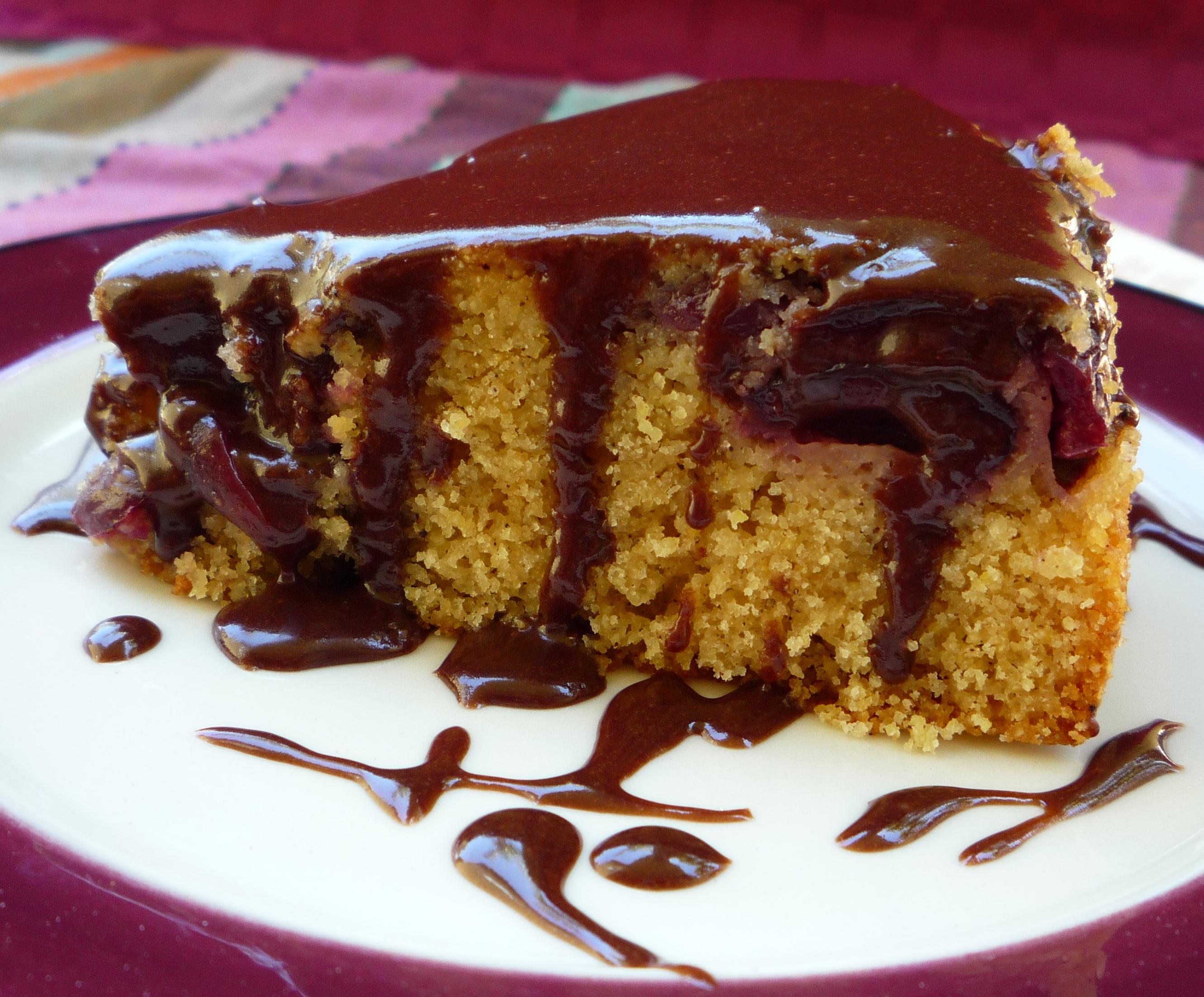 Cherry Cornmeal Cake with Chocolate Glaze | * NerdyBaker