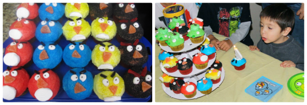 Got the idea for Angry Birds Cupcakes from thecraftingchicks.com.  I came up with the black ones on my own.  It was my hubs favorite!