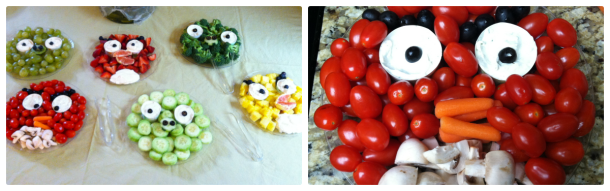 I got this idea from Sesame Street faces I'd seen done in veggie and fruit form.  For veggies I just used ranch dip but I will post links at the bottom of the post for the fruit dips.