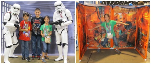 The kids and some stormtroopers and Angela inside a Tardis tent.