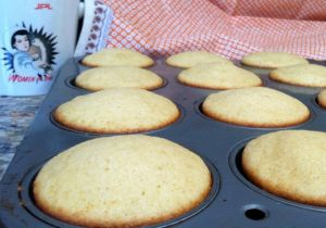 Joy's Simple Vanilla Cupcakes destined to become soccer balls.